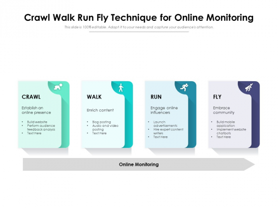 Crawl Walk Run Fly Technique For Online Monitoring Ppt PowerPoint Presentation File Visual Aids PDF