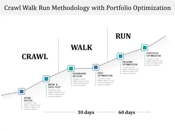 Crawl Walk Run Methodology With Portfolio Optimization Ppt PowerPoint Presentation Gallery Background PDF