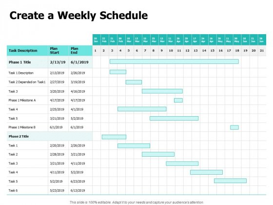 Create A Weekly Schedule Ppt PowerPoint Presentation Model Design Inspiration