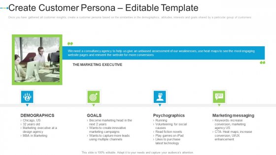 Create Customer Persona Editable Template Internet Marketing Strategies To Grow Your Business Template PDF