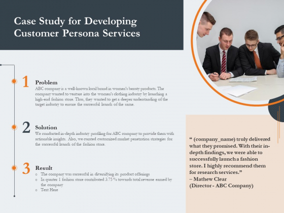 Creating Buyer Persona Case Study For Developing Customer Persona Services Icons PDF