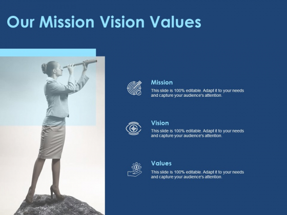 Creating The Best Sales Strategy For Your Business Our Mission Vision Values Ppt Ideas Professional PDF