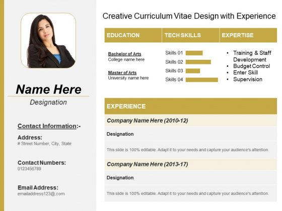 Creative Curriculum Vitae Design With Experience Ppt PowerPoint Presentation Show Template PDF