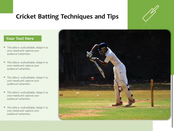 Cricket Batting Techniques And Tips Ppt PowerPoint Presentation File Slides PDF
