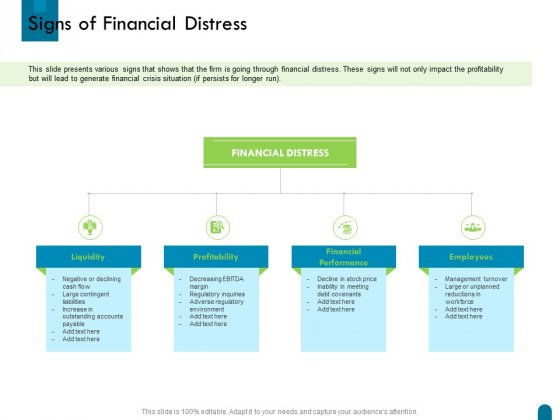 Crisis Management Signs Of Financial Distress Ppt Pictures Aids PDF