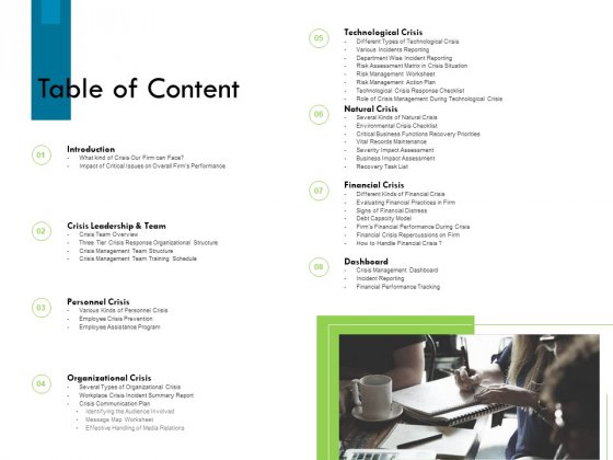 Crisis Management Table Of Content Ppt File Portrait PDF