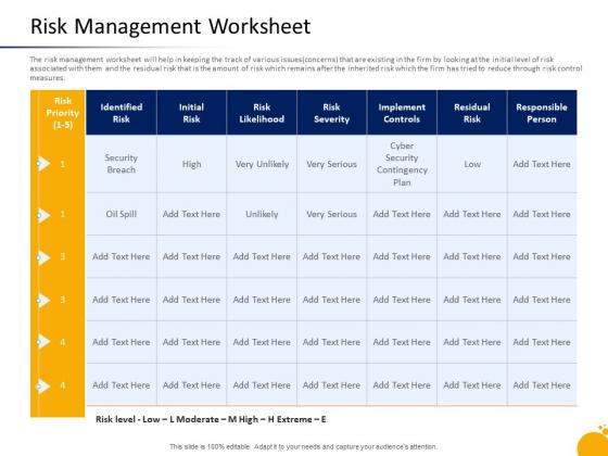 Crisis Program Presentation Risk Management Worksheet Ppt Show Information PDF