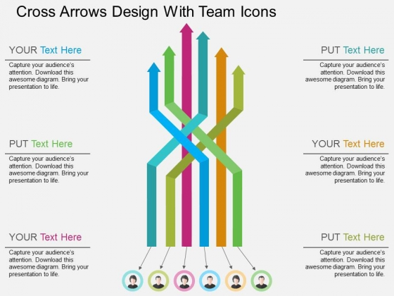 Cross Arrows Design With Team Icons Powerpoint Templates