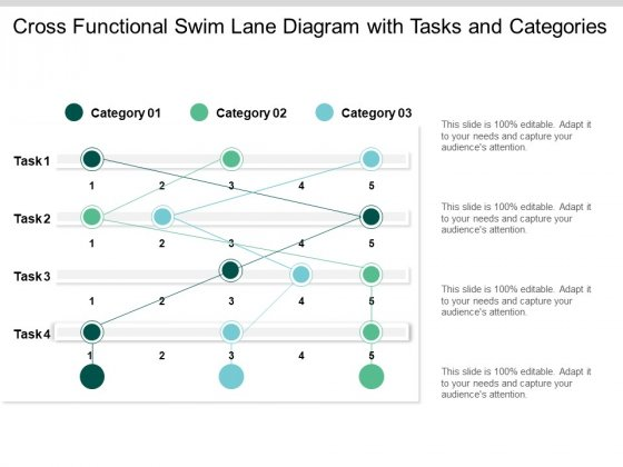 Cross Functional Swim Lane Diagram With Tasks And Categories Ppt PowerPoint Presentation Ideas Grid