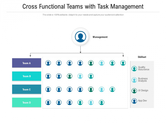 Cross Functional Teams With Task Management Ppt PowerPoint Presentation File Backgrounds PDF