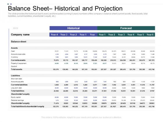 Crowd Sourced Equity Funding Pitch Deck Balance Sheet Historical And Projection Summary PDF