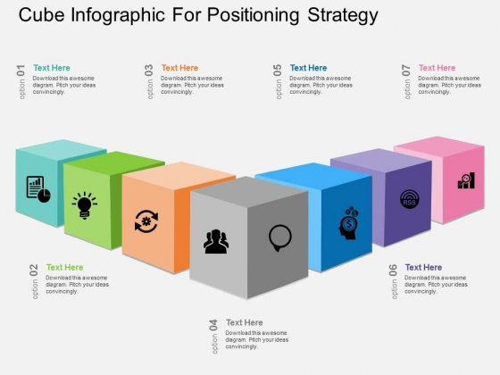 Cube Infographic For Positioning Strategy Powerpoint Template
