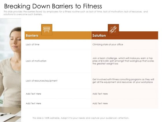 Cultivating The Wellbeing Culture In Organization Breaking Down Barriers To Fitness Diagrams PDF