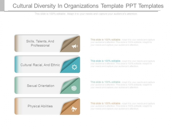 Cultural Diversity In Organizations Template Ppt Templates