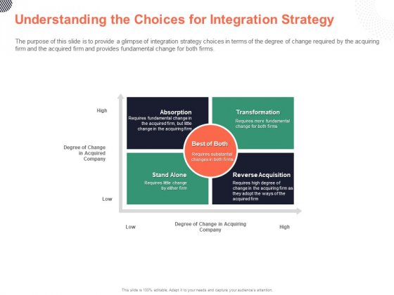 Cultural Integration In Company Understanding The Choices For Integration Strategy Ppt PowerPoint Presentation Professional Ideas PDF