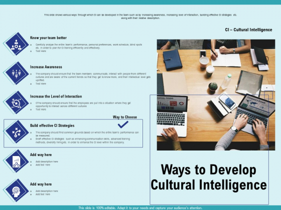 Cultural Intelligence Productive Team Enhanced Interaction Ways To Develop Cultural Intelligence Infographics PDF
