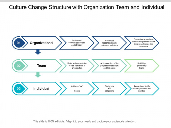 Culture Change Structure With Organization Team And Individual Ppt PowerPoint Presentation Slides Guidelines