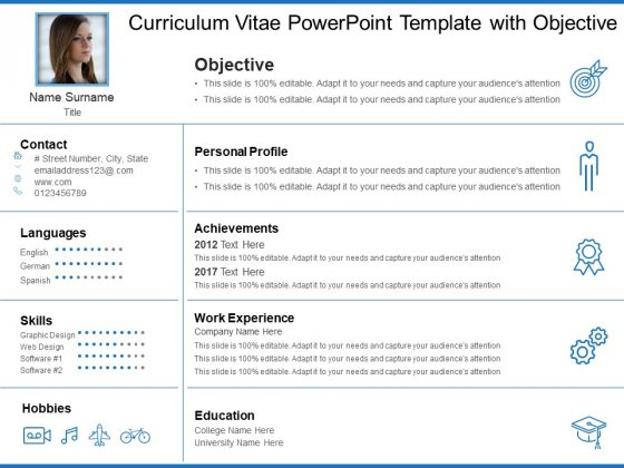 Curriculum Vitae PowerPoint Template With Objective Ppt PowerPoint Presentation Show Design Inspiration PDF