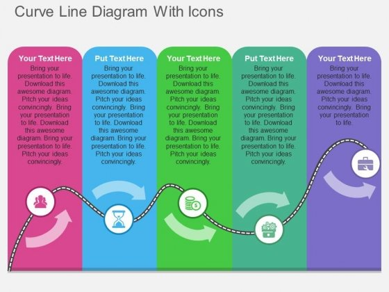 Curve Line Diagram With Icons Powerpoint Template