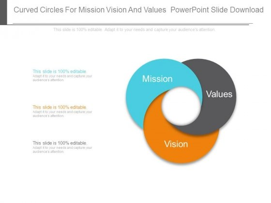 curved circles for mission vision and values powerpoint slide
