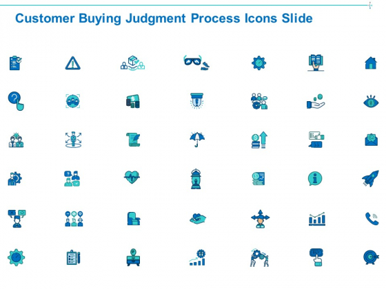 Customer Buying Judgment Process Icons Slide Ppt PowerPoint Presentation Icon Diagrams PDF