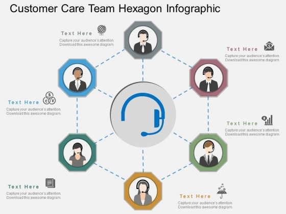 Customer Care Team Hexagon Infographic Powerpoint Template