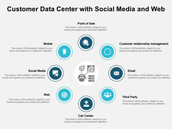 Customer Data Center With Social Media And Web Ppt PowerPoint Presentation Summary Design Ideas PDF