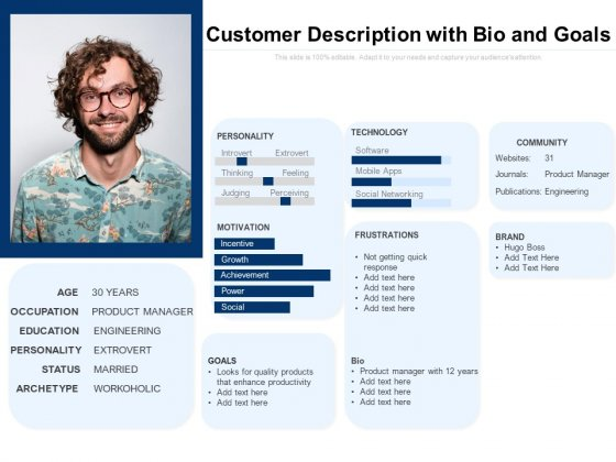 Customer Description With Bio And Goals Ppt PowerPoint Presentation Inspiration PDF