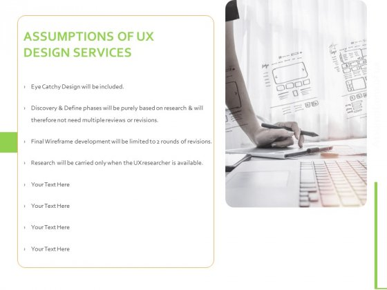 Customer Experience Interface Assumptions Of UX Design Services Ppt PowerPoint Presentation Show Example PDF