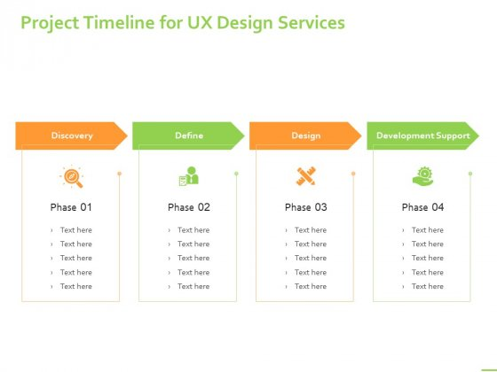 Customer Experience Interface Project Timeline For UX Design Services Ppt PowerPoint Presentation Show PDF