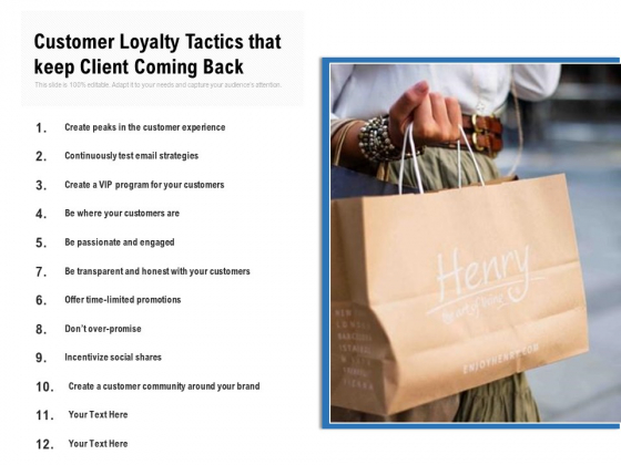 Customer Loyalty Tactics That Keep Client Coming Back Ppt PowerPoint Presentation Gallery Microsoft PDF