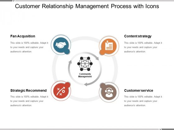 Customer Relationship Management Process With Icons Ppt PowerPoint Presentation File Visuals PDF