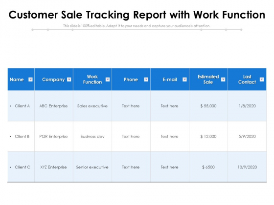 Customer Sale Tracking Report With Work Function Ppt PowerPoint Presentation Gallery Smartart PDF