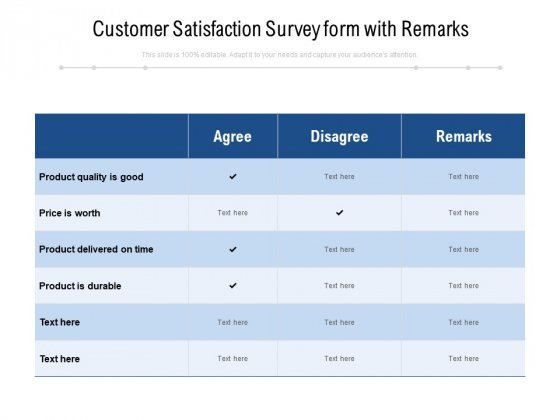 Customer Satisfaction Survey Form With Remarks Ppt PowerPoint Presentation Model Inspiration PDF