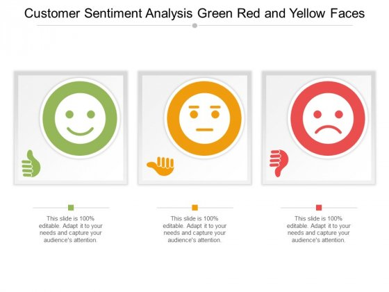 Customer Sentiment Analysis Green Red And Yellow Faces Ppt Powerpoint Presentation Ideas Layout