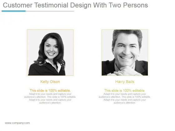 Customer Testimonial Design With Two Persons Ppt PowerPoint Presentation Deck