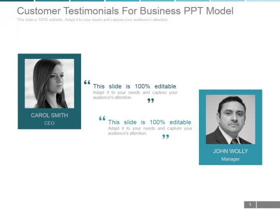 Customer Testimonials For Business Ppt PowerPoint Presentation Tips