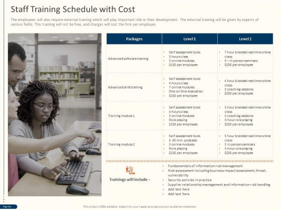 Cyber Security For Your Organization Staff Training Schedule With Cost Ppt Visual Aids Slides PDF