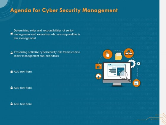 Cyber Security Implementation Framework Agenda For Cyber Security Management Ppt PowerPoint Presentation Gallery Ideas PDF