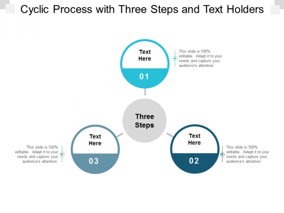 cyclic process with three steps and text holders ppt powerpoint presentation icon mockup