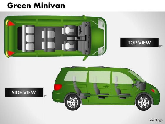 Cars Green Minivan Side View PowerPoint Slides And Ppt Diagram Templates