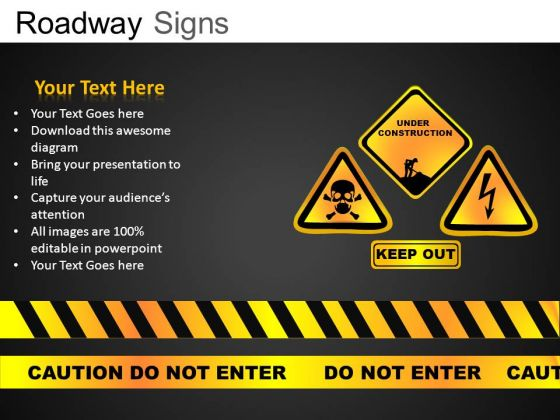 Caution Roadway Signs PowerPoint Slides And Ppt Diagram Templates