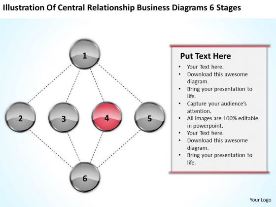 Central Relationship Business Diagrams 6 Stages Plan PowerPoint Slides