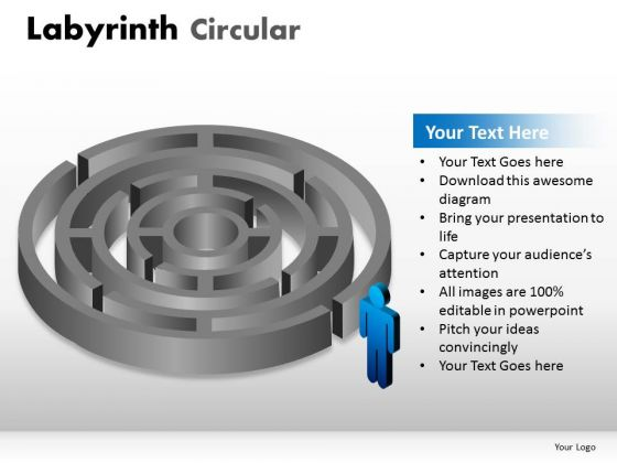 Challenge Choice Labyrinth Circular PowerPoint Slides And Ppt Diagram Templates