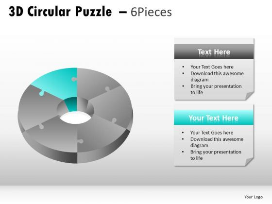 Changeable Colors 3d Circular Puzzle 6 Pieces PowerPoint Slides And Ppt Diagram Templates