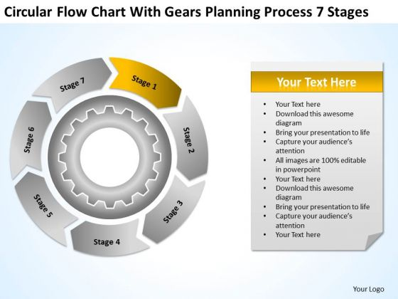 Chart With Gears Planning Process 7 Stages Company Business Examples PowerPoint Slides