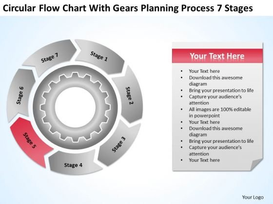 Chart With Gears Planning Process 7 Stages How To Develop Business PowerPoint Templates