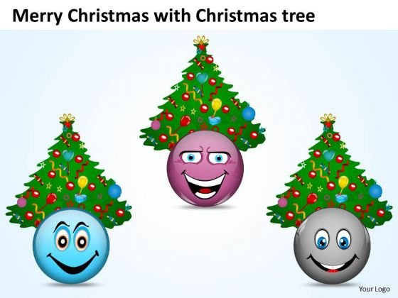 Christmas Tree With Different Smileys Happiness PowerPoint Slides