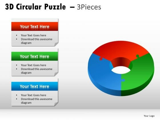 Chromatic 3d Circular Puzzle 3 Pieces PowerPoint Slides And Ppt Diagram Templates