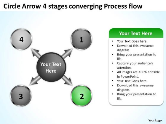 Circle Arrow 4 Stages Converging Process Flow Circular Layout PowerPoint Slides